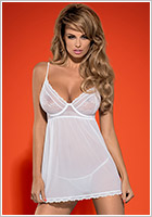 Obsessive Favoritta Babydoll & String - Weiss (XXL)