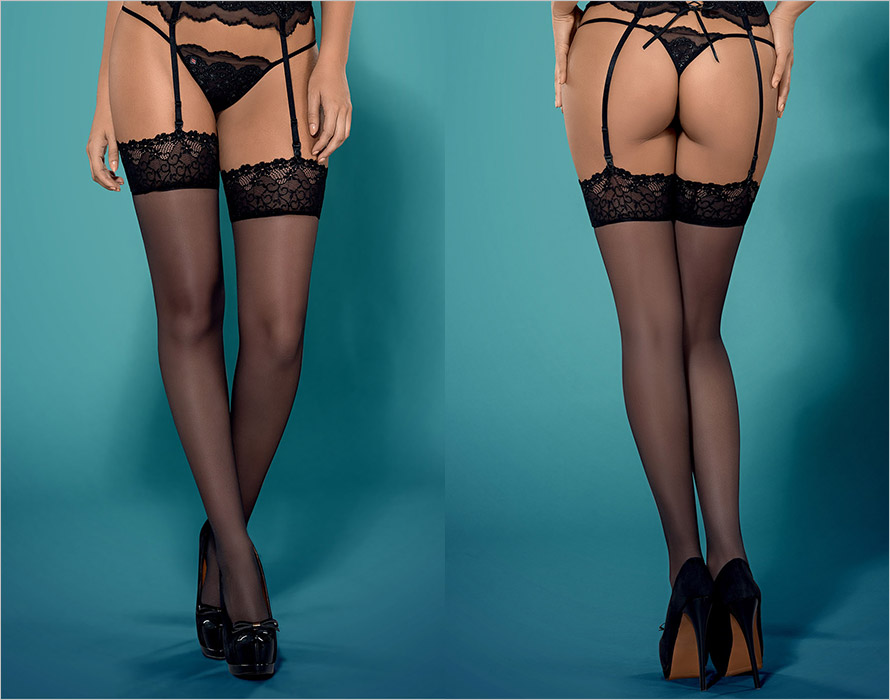 Obsessive Kisselent Stockings - Black (S/M)