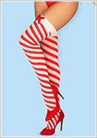 Obsessive Kissmas Stockings - Red & white (S/M)