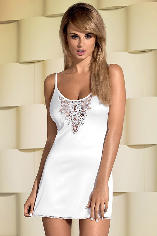 Obsessive Lelia Chemise & String - Weiss (S/M)