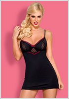 Obsessive 819 Chemise & Thong - Black & pink (S/M)