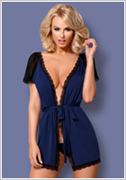 Obsessive 825 Dressing gown - Blue (S/M)