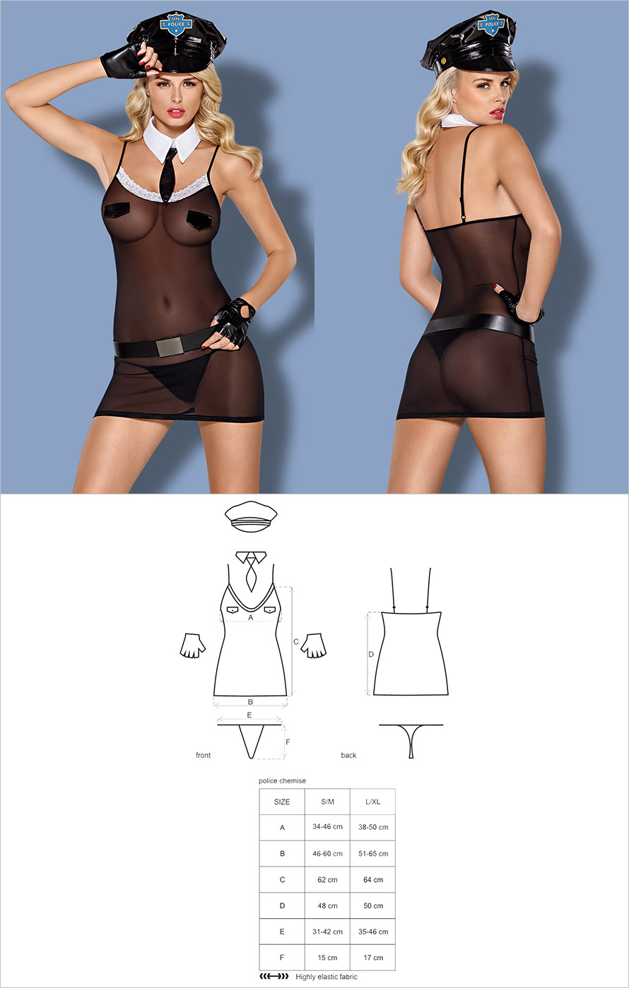 Obsessive Police Chemise Policewoman Costume (L/XL)