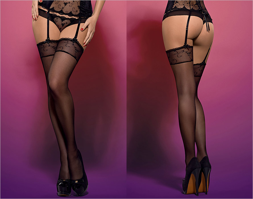 Obsessive Rosana Stockings - Black (S/M)