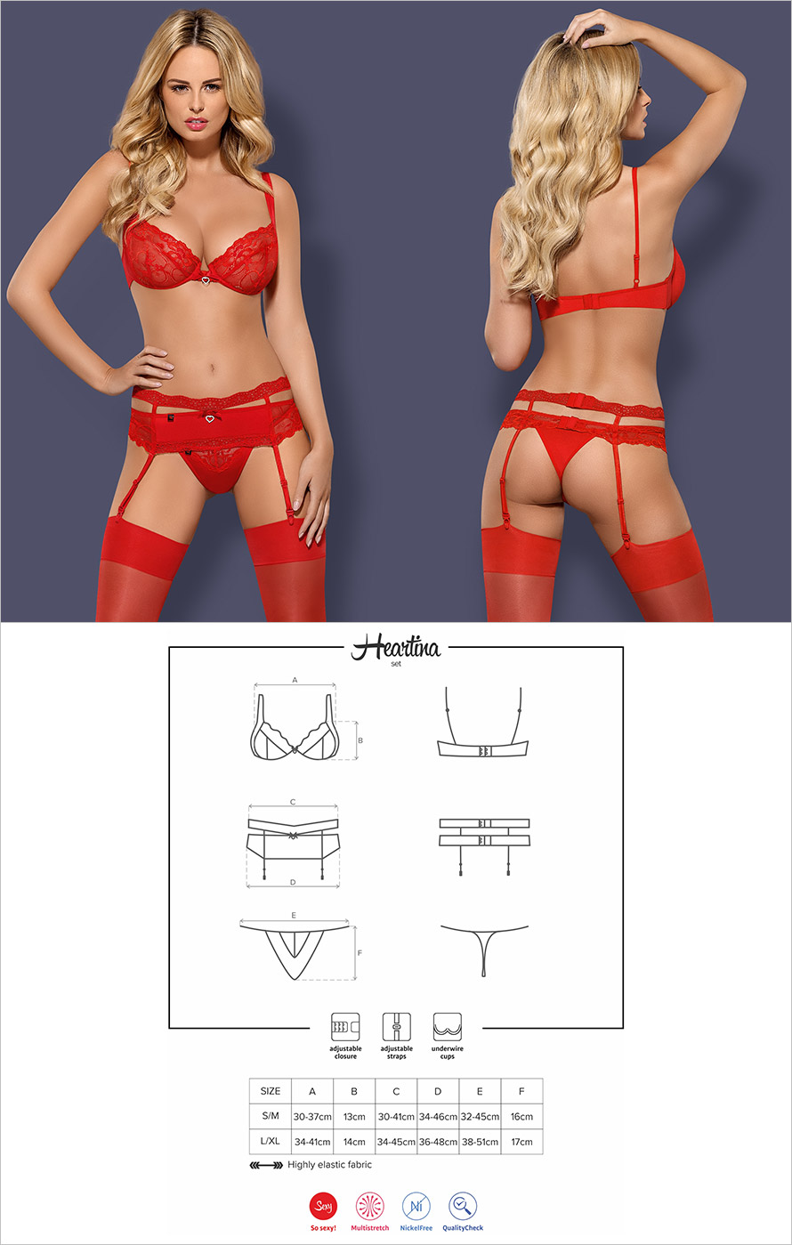 Obsessive Heartina Set - 3 pcs (L/XL)