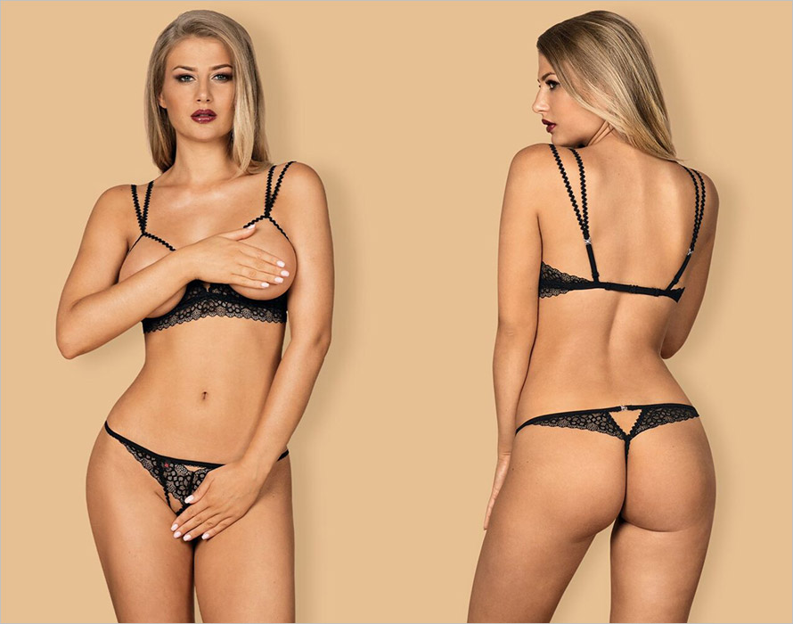 Obsessive Liferia open set - Black (S/M)