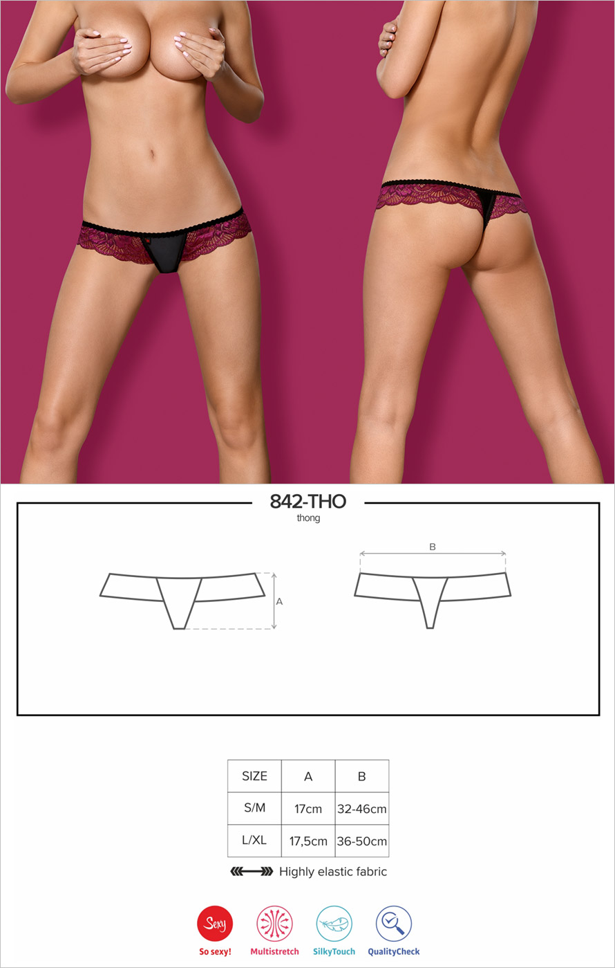 Obsessive 842 Thong - Black & burgundy (L/XL)