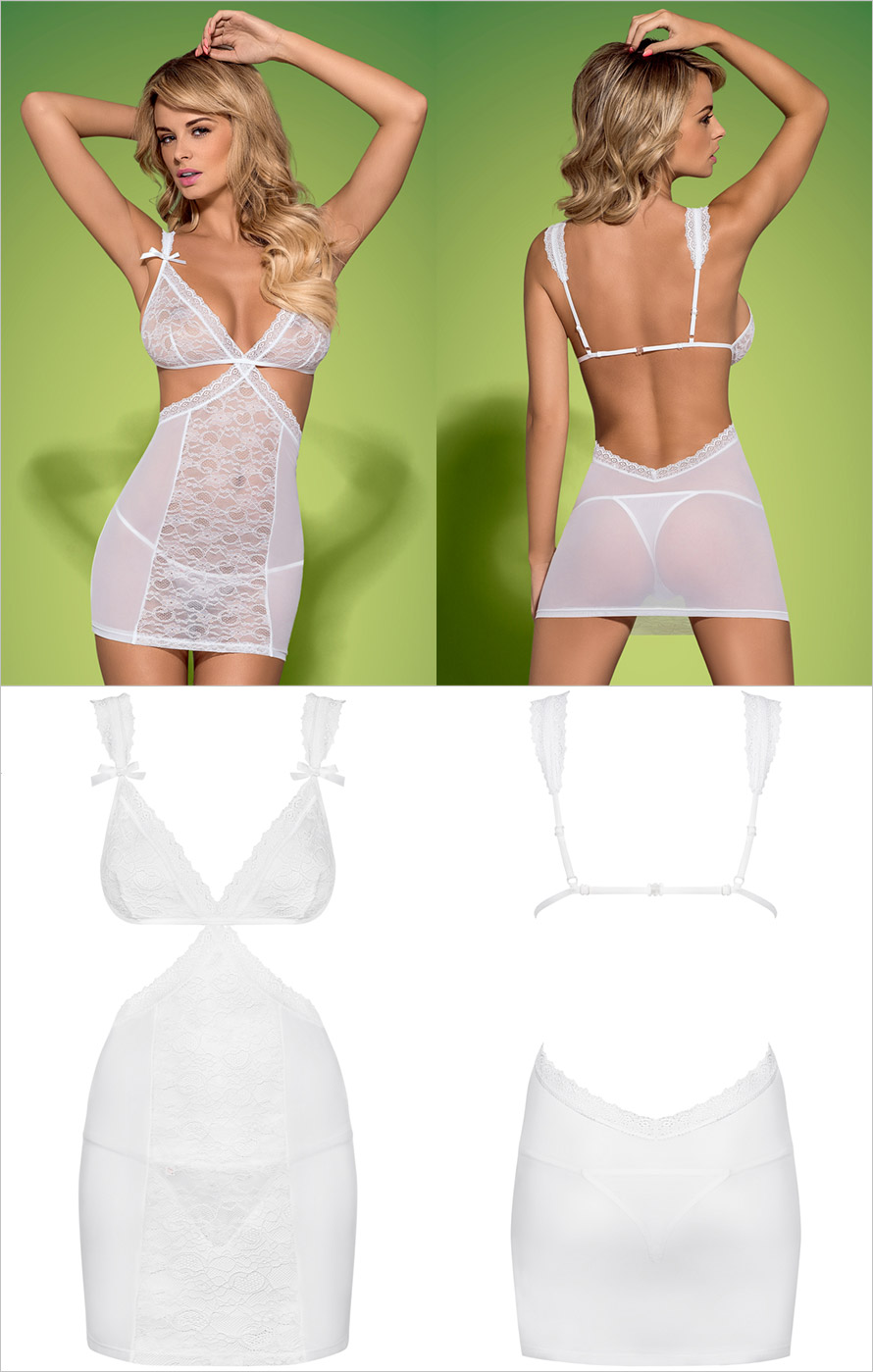 Obsessive Swanita Chemise & String - Weiss (L/XL)