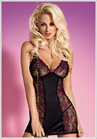 Obsessive Nuisette & String Amarone - Noir (L/XL)