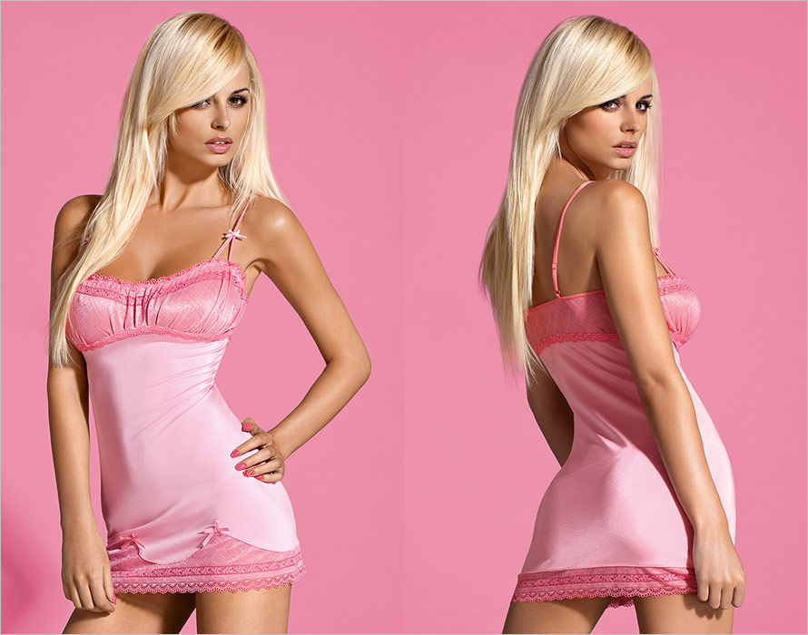 Obsessive Barbiella Chemise & Thong - Pink (S/M)