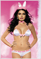Obsessive Sexy Bunny Costume - White & pink (S/M)