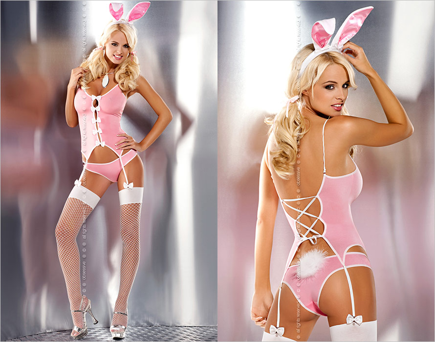 Obsessive Bunny Suit Costume - Pink & white (L/XL)