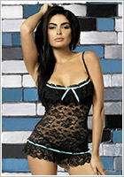 Obsessive Curacao Chemise & Thong - Black (L/XL)