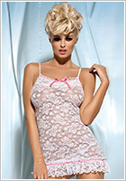 Obsessive Curacao Chemise & Thong - White (S/M)