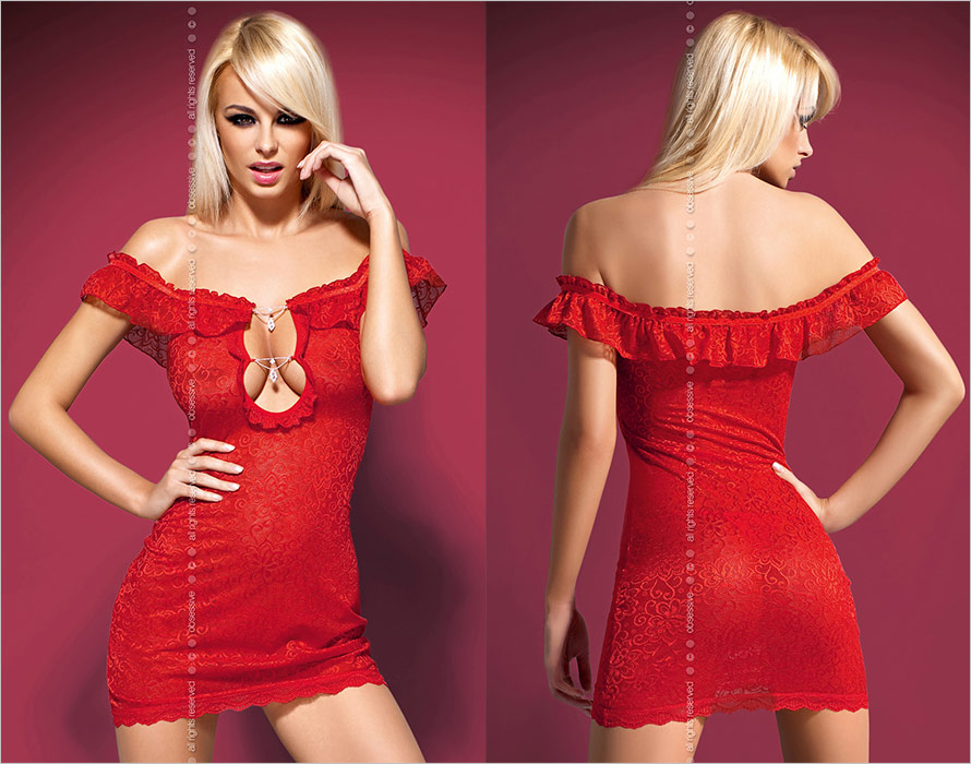 Obsessive Diamond Chemise & Thong - Red (L/XL)