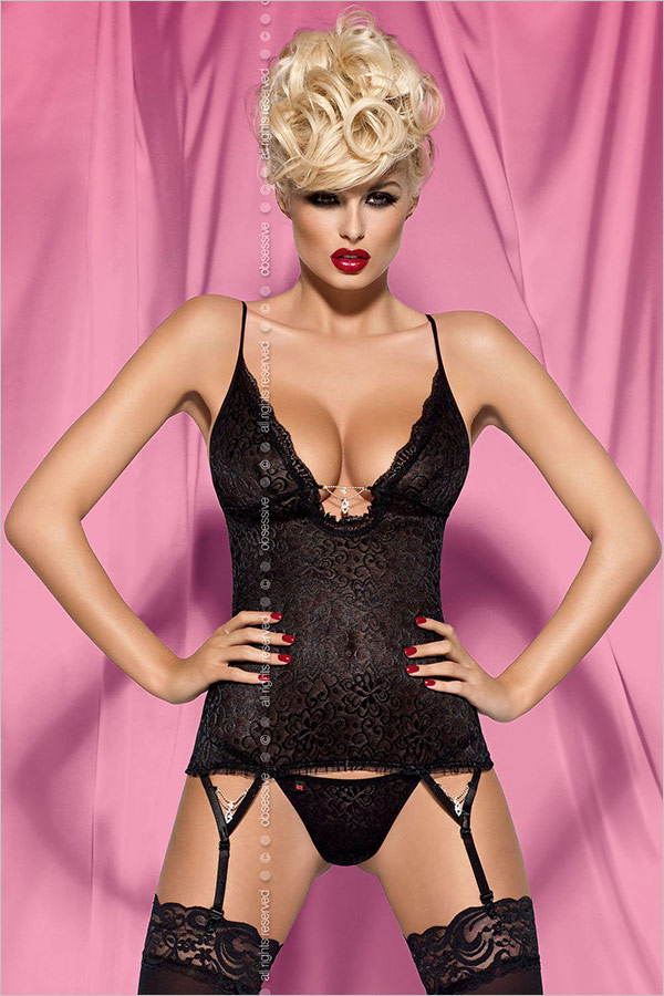 Obsessive Diamond Corset & Thong - Black (S/M)