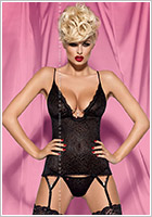 Obsessive Diamond Corset & Thong - Black (L/XL)