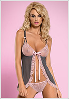 Obsessive Babydoll & String Dovelia - Rose & gris (S/M)