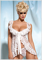 Obsessive Julia Babydoll & String - Weiss (S/M)