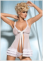 Obsessive Kalia Babydoll & String - Weiss (S/M)