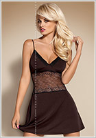 Obsessive Lamia Chemise & Thong - Brown (L/XL)