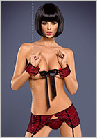 Obsessive Lamia Garter Belt, Thong & Handcuffs - Red (S/M)