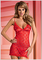 Obsessive Nuisette & String Lovia - Rouge (L/XL)