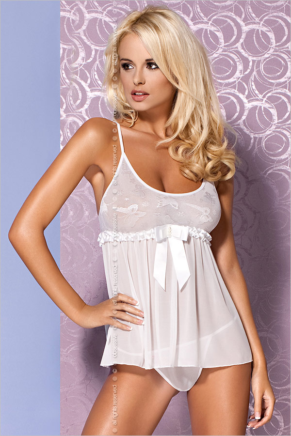 Obsessive Mistia Babydoll & String - Weiss (S/M)