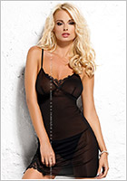 Obsessive Musa Chemise & Thong - Black (S/M)