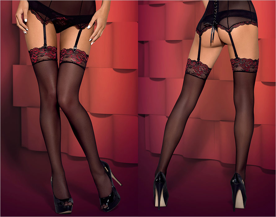 Obsessive Musca Stockings - Black (XXL)