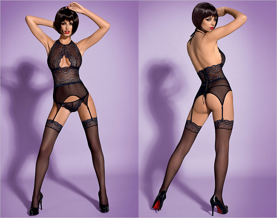 Obsessive Oriens Corset, thong & stockings - Black (L/XL)