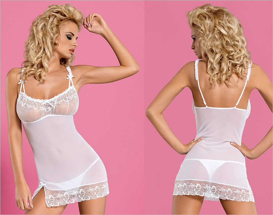 Obsessive Papilio Chemise & String - Weiss (L/XL)