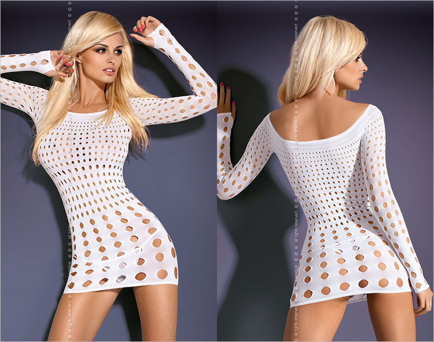 Obsessive Rocker Mini Dress with long sleeves - White (S/M/L)