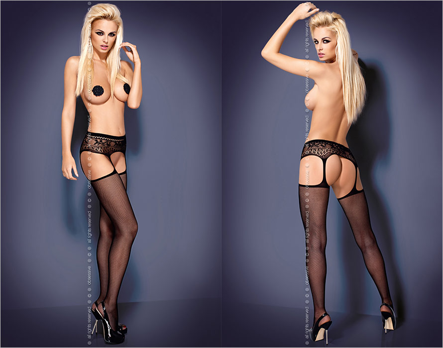 Obsessive Garter Stockings S307 - Black (XL/XXL)