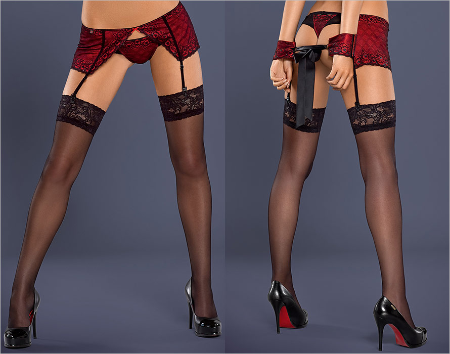 Obsessive S802 Stockings - Black (L/XL)