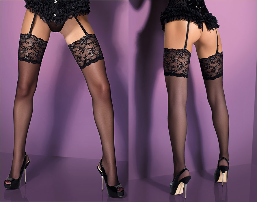 Obsessive S805 Stockings - Black (S/M)