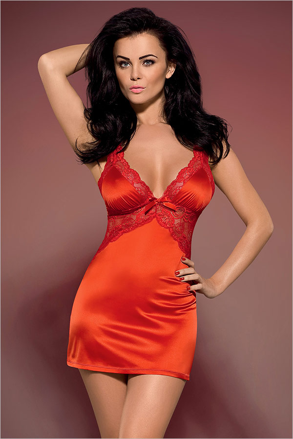 Obsessive Secred Chemise & Thong - Red (L/XL)