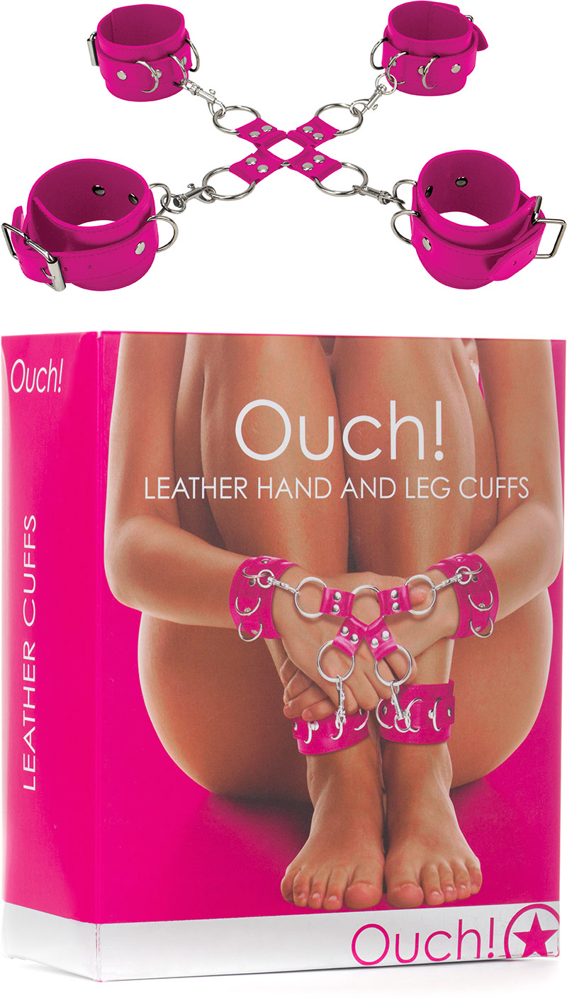 Ouch! Leather Hand & Leg Cuffs - Pink
