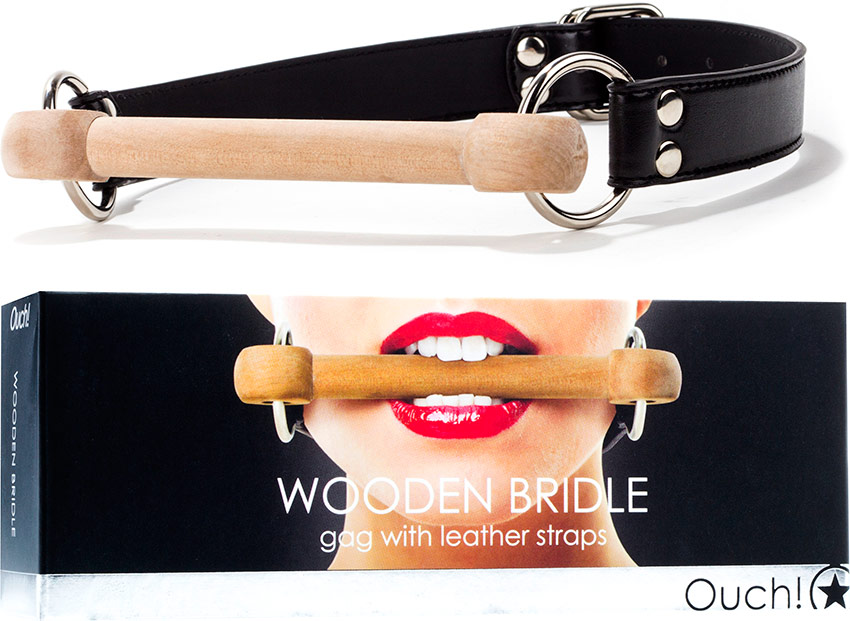 Ouch! Wooden Bridle Gag with leather straps