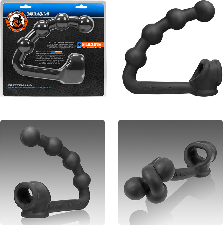 Oxballs Cocksling Buttballs penis ring with integrated butt plug