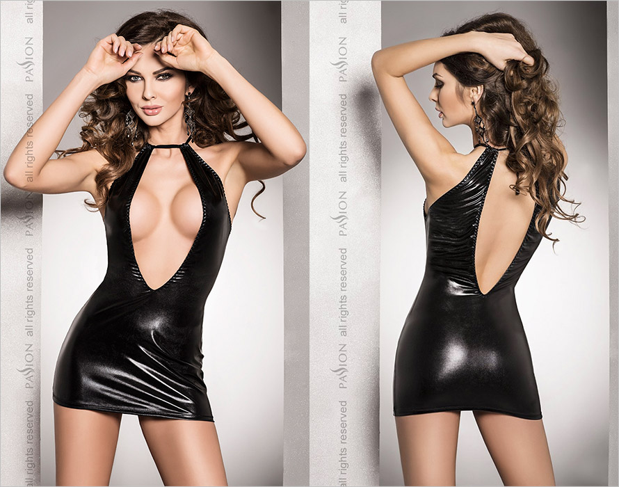Passion Mini Robe & String Femi - Noir (L/XL)