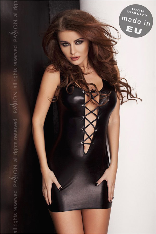 Passion Mini Robe & String Lizzy - Noir (XXL/XXXL)