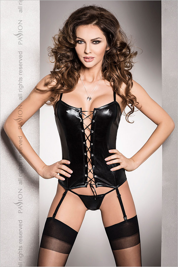 Passion Bes Corset & Thong - Black (S/M)