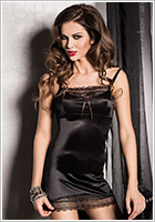 Passion Evane Chemise & Thong - Black (L/XL)