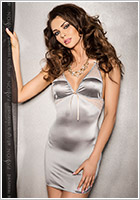 Passion Halla Chemise & Thong - Grey (L/XL)
