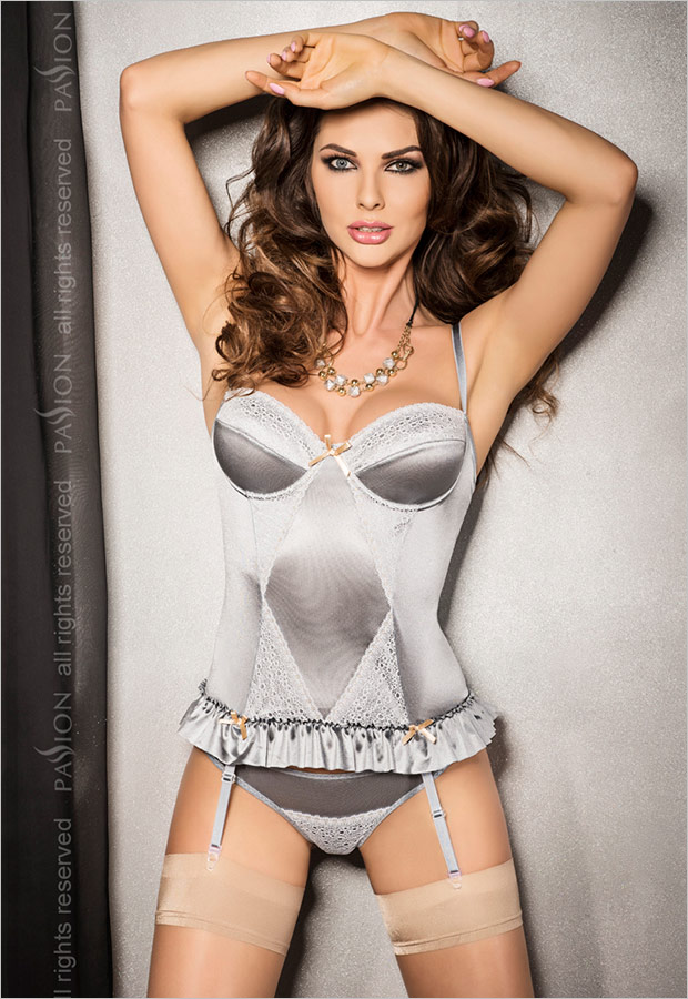 Passion Halla Corset & Thong - Grey (L/XL)