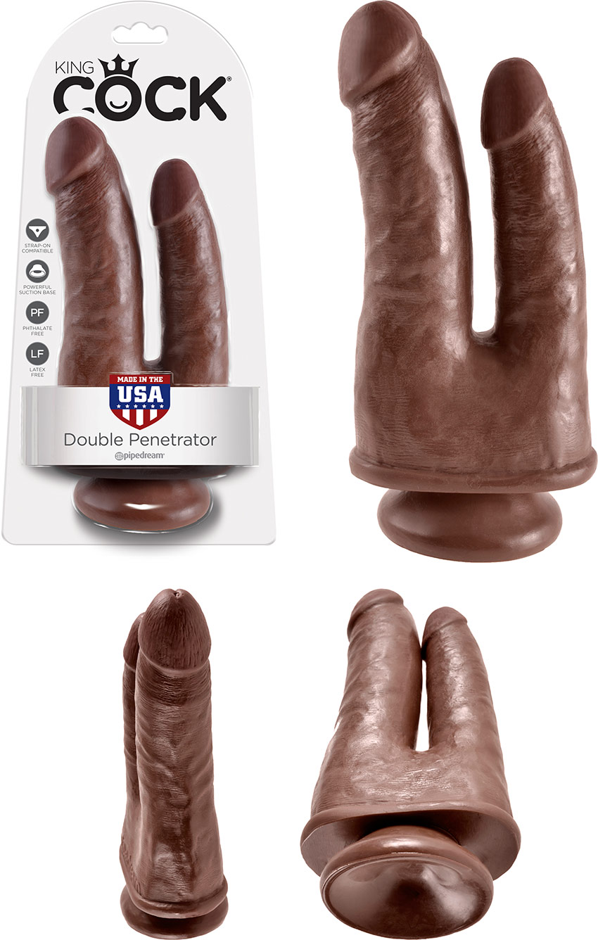 Pipedream King Cock Double Penetrator dildo - Brown