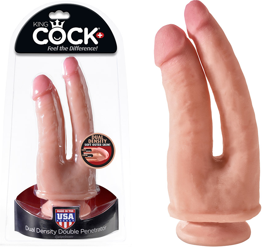 King Cock Plus Dual Density Double Penetrator - Beige
