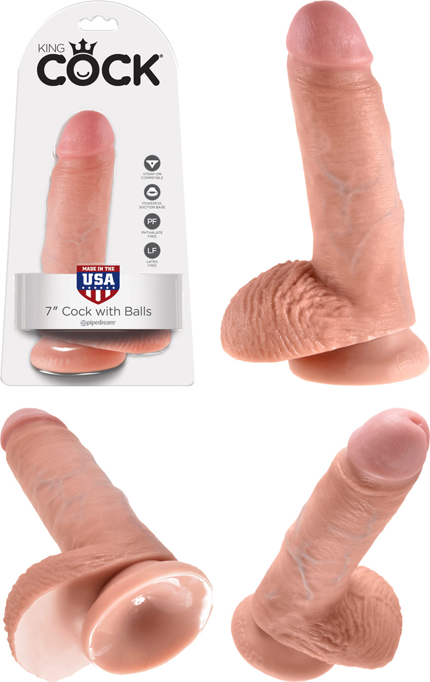 King Cock RealDeal realistic dildo with testicles - 13 cm - Beige