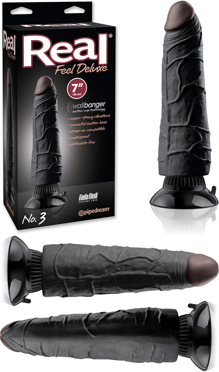 Pipedream Real Feel Deluxe No 3 Vibrator - 18 cm (Schwarz)